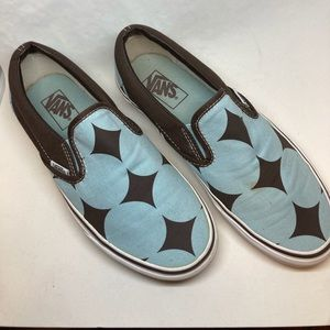 Vintage Vans Brown & Blue Slip-Ons SZ Women's 8.5